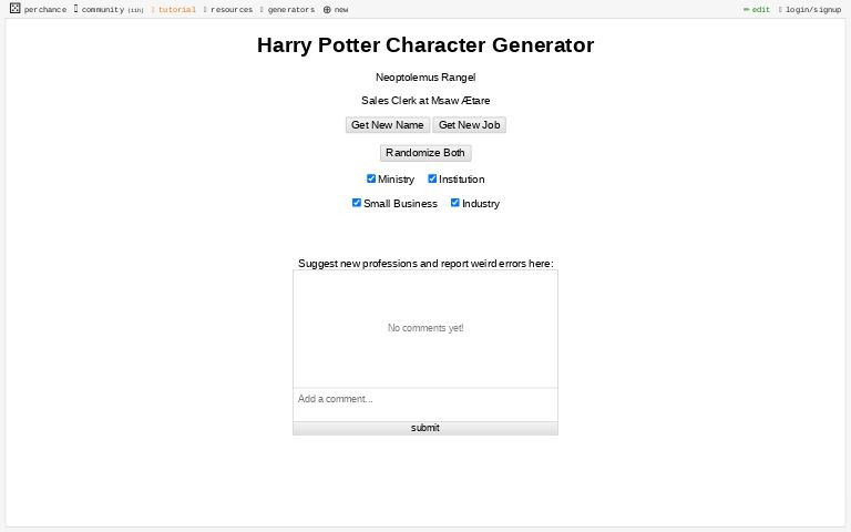 Harry Potter Character Generator Perchance Org We have a modified experience for viewers using ad blockers. perchance org