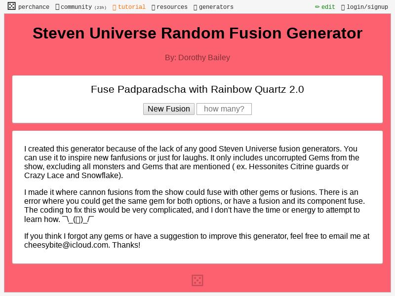 Steven Universe Random Fusion Generator Perchance Org